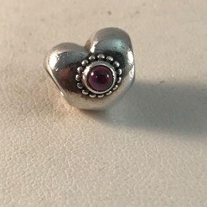 Pandora Rhodolite Treasured Heart